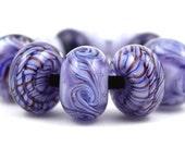 Lampwork Glass Beads by Beadscrumptious. Lampwork Beads. Purple Swirls.