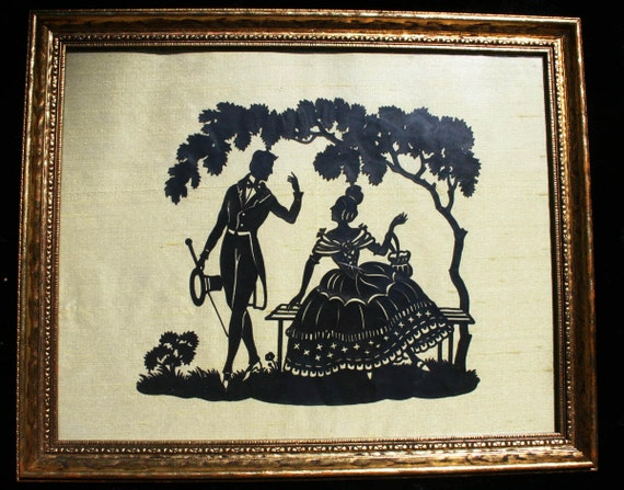 Vintage Silhouette Victorian Picture Wall Hanging