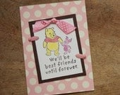 """Pink and Brown Winnie the Pooh """"Friends Forever"""" Handmade Valentine's Greeting Card"""