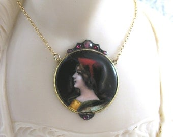 Antique Limoges Enamel Necklace Garnets 18ct Gold Paul Bonnaud