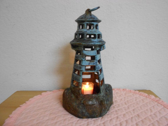 19th Cen Light House with Candle Holder / Rustic / Primitive / Superb