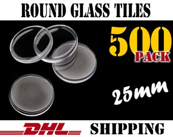 500 pcs Round 25mm Clear Glass Tiles