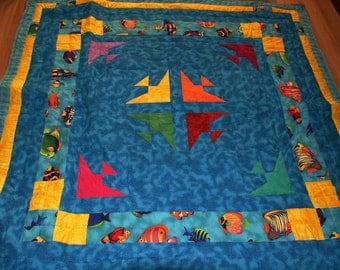 Bright Nautical Fish lap quilt. Hand quilted. Cotton