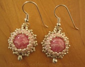 Bead Embroidered Rhodochrosite Earrings