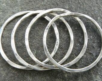 Handmade 20mm Hammered 18ga Sterling Silver Links - MADE TO ORDER