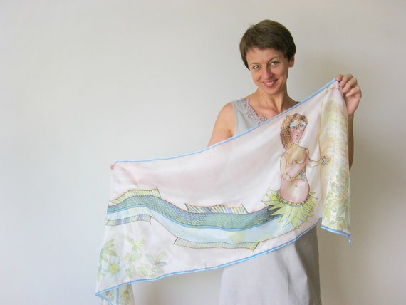 Long silk scarf hand painted Mermaid Spring fashion Pastel green flowers