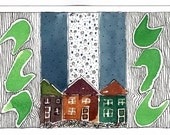 Accent Art,Home Decor, Cottages With Blue Sky, Small Houses, Landscape