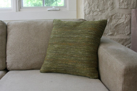Knoll Fabric Sofa Pillows - mid century modern cushions, olive green, woven
