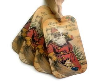 Black Santa Tags, Vintage Christmas Tags, Retro Christmas Tags, Holiday Tags, Christmas Gift Tags, Black Santa Claus, Set of 10