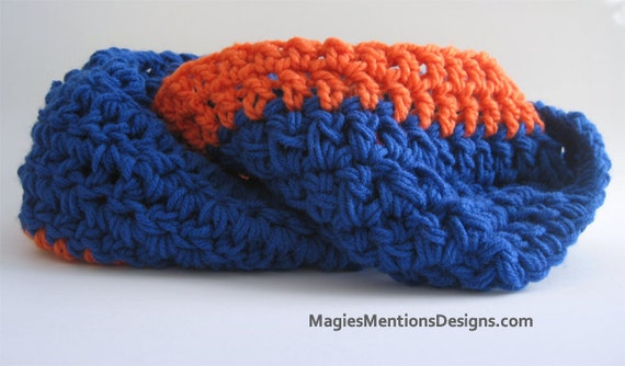 Circle Infinity Scarf and Cowl in One - Blue Orange Soft and Cushy Handmade