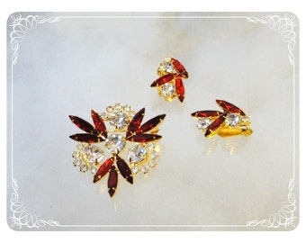Ruby Red Snowflake Brooch & Matching Earrings - Red Rhinestone Set   1417a-092312000