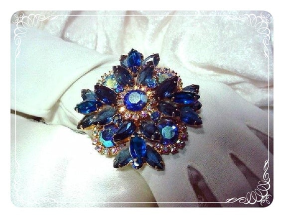 Juliana  Sapphire Blue Brooch Large Bewitching D and E  800a-012109045