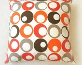 CUSTOM ORDER for sharonashleyburnett - Set of Two Orange Pillow Cover - White Fabric with Orange, Brown, Beige Circles Print - 22x22""