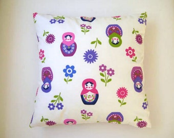 Matryoshka Print Pillow Cover - White Linen with Purple Pink Green Matrioshka Print on it - Gift for Mom, for Her - Ready to Ship
