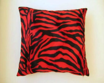 """Red and Black Pillow Cover - Velvet Pillow Cover with Zebra Animal Print - 18x18"""" - Gift for Her, for Mom - Ready to Ship Decor"""