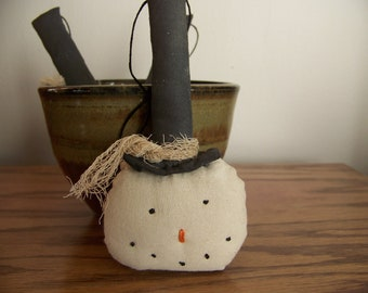 Set of 3 Primitive Grungy Snowman Ornaments/Tucks/Bowl Fillers
