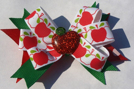 sparkly apple hair bow- red and green hair clip- back to school accessory