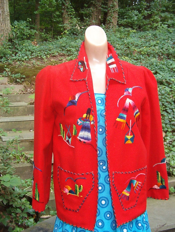 40's Red Wool Embroidered Fiesta Jacket -Mexicana - Rockabilly- VLV- Medium