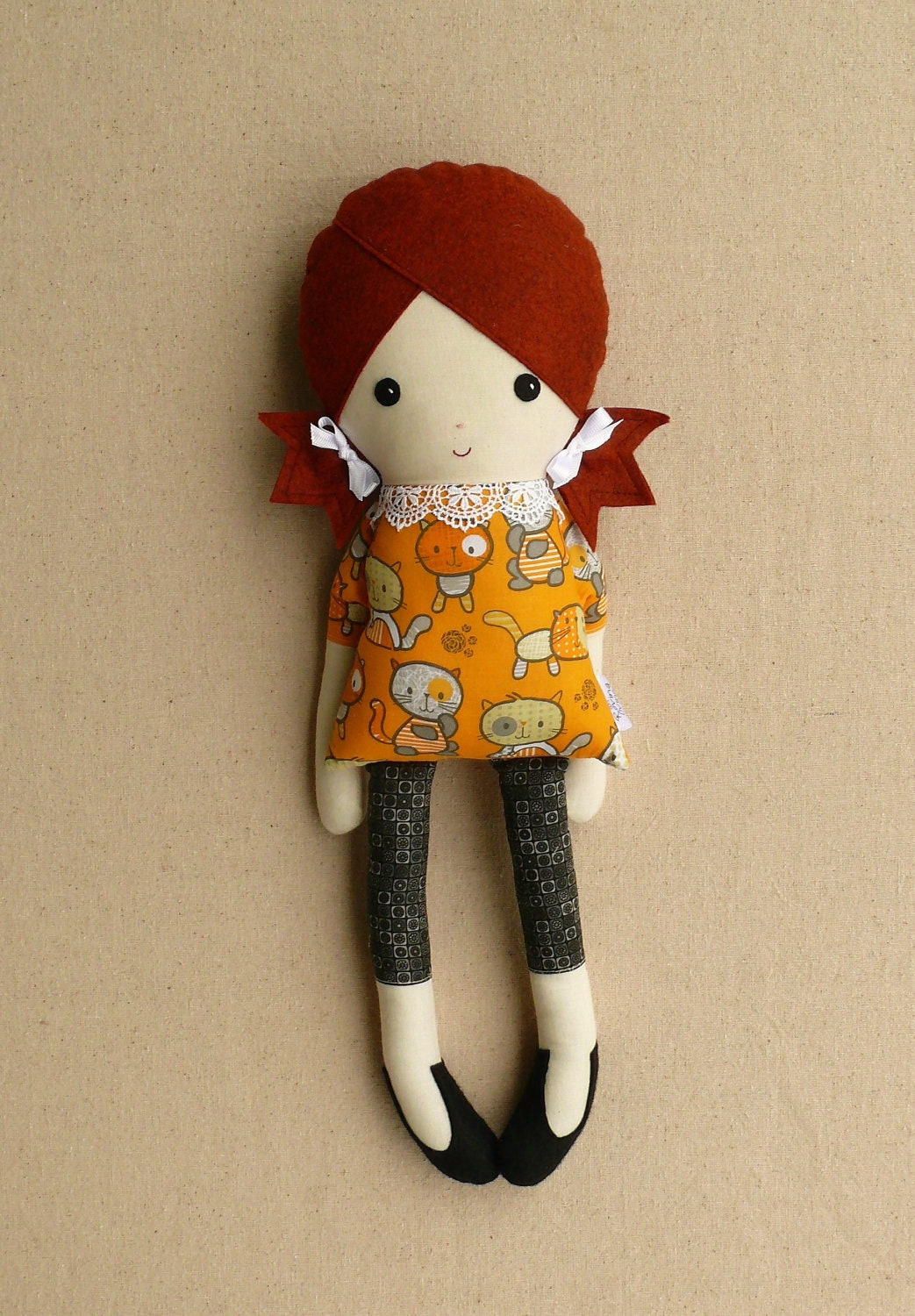 Fabric Doll Rag Doll Girl With Cat Dress