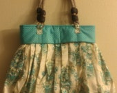 Large Turquoise Purse, Handbag with Sunglass Cover