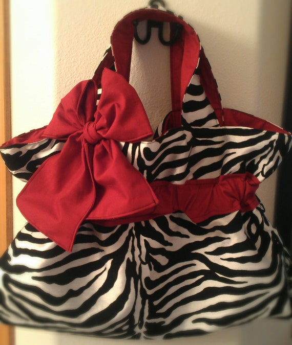 Zebra Stripe Purse with Burgundy Accents-Hand made