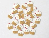 White cupcake buttons