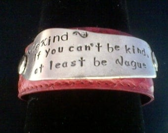 Be Kind-upcycled leather cuff-hand stamped silverware jewelry