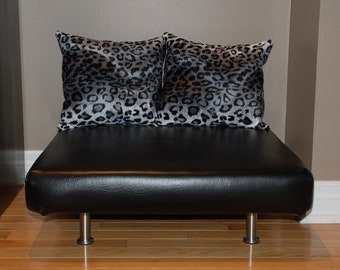 """24""""x24"""" Black Faux Leather Upholstered Pet Bed / Cat Bed / Small Dog Bed /// Pet Lounger with 2 Leopard Faux Fur Pillows"""