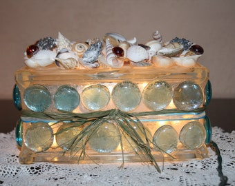 Seashore Night Light Shells and Glass Stones Beach Decorated Ocean Lovers Home Decoration Special Lighting