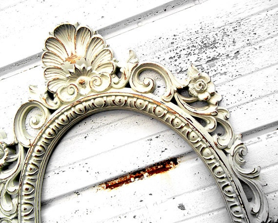 Large Ornate Ivory Oval - Rustic Shabby Chic Distressed Off White Frame - Gallery Mantle Wall Wedding Decor Romantic Cottage