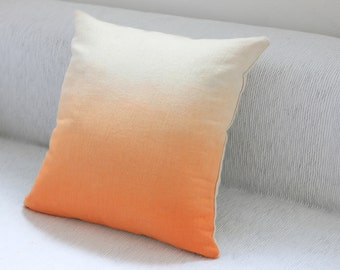 Orange Dip Dye Cushion Cover / Ombre Pillow Cover - Hand Dyed