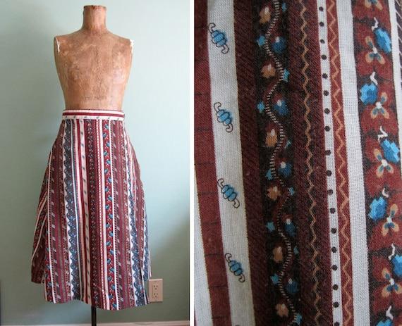 vintage 50s skirt/ 1950s pattern skirt/ 50s a-line  wrap skirt S
