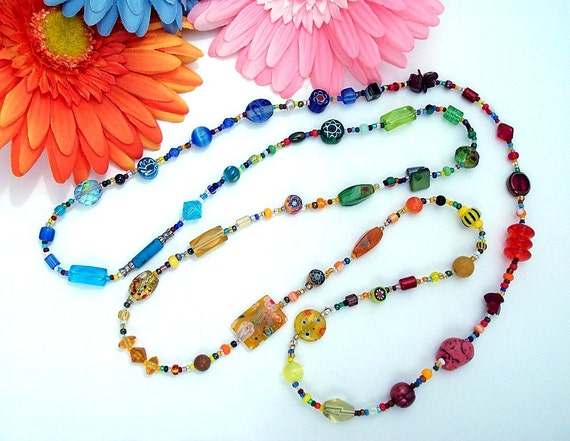 Rainbow Gradient Long Necklace Toss On Size 4 in Glass, Ceramic, Clay, Semi-precious Stone, Metal and Metallic Beads