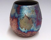 Raku fired Leaf Vase