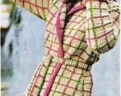Vintage Crochet Pattern Plaid Short Coat Jacket  PDF