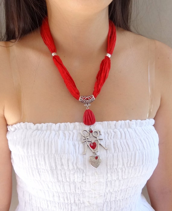 Red Turkish Silk Necklace-Silver Plated Love Necklace-Heart Necklace, Valentines