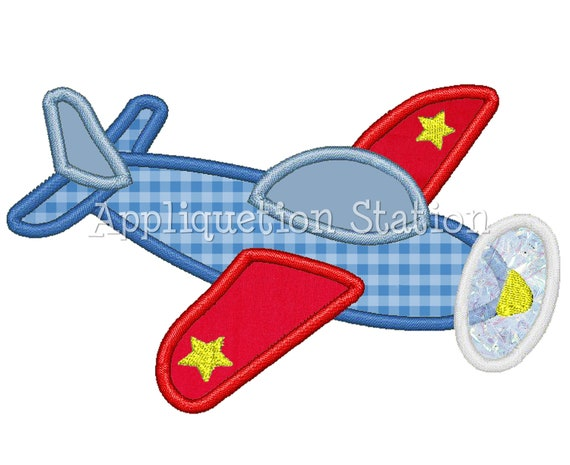 Airplane Plane Applique Machine Embroidery Design Blue Red Boy