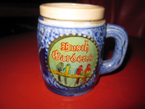 """Getting Wasted Very Slowly . . . Vintage 1960s 2.5"""" BUSCH GARDENS souvenir beer stein/mug - probably Made in Japan - Tampa, FL - vtg"""