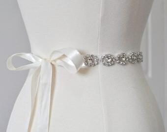 "Ready To Ship - Rhinestone encrusted bridal belt, Crystal Belt, Bridal Sash 14""-36"""