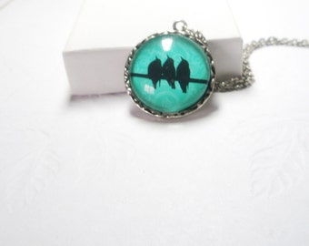 Birds on Wire necklace Branch Necklace Gift For Her Under 30