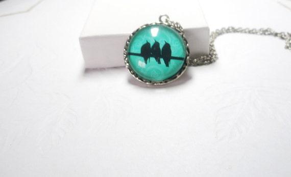 Birds necklace - bird ring -Birds on Wire necklace-  bird ring -turquoise bird ring