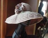 Floppy Sun Hat w/ Flower Appliqué - Women