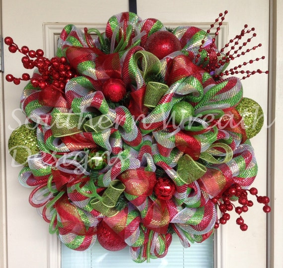 Red Silver and Green Deco Mesh Christmas Wreath