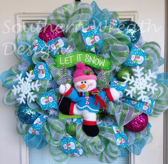 Snowman Let It Snow Christmas Wreath By Southernwreathdesign