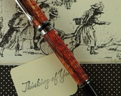 Hand turned Ink Pen Classic Style Handcrafted from Red Stained Curly White Oak Pew wood from Grace River Church 309
