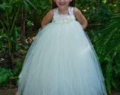 Ivory Vintage flower girl tutu dress, satin straps, Flower girl dress, tutu dresses
