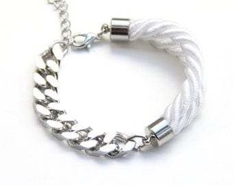 arm party - Silver chunky chain and White Silk Bracelet