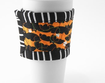 Bats Coffee Cup Sleeve, Quilted Cup Wrap, Reversible Coffee Cozy with Bats and Purple