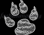Zebra Print Wolf Wolverine Paw Claw- you choose 1 color Custom Personalized Rhinestone Transfer Iron On Applique Bling Crystal