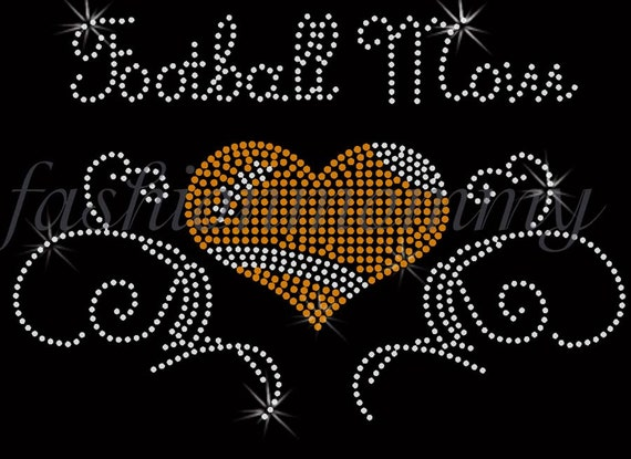 heart Football Mom  Rhinestone Transfer Iron On Applique Bling Crystal